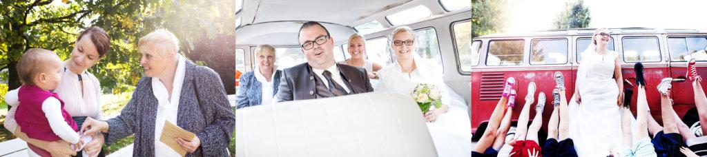 VW Bulli, kirchliche Trauung, Hochzeitspaar, Hochzeit in Chucks, heiraten in Chucks, Spaß, Brautjungfern, Patenkind, Oma, VW Bulli, Hochzeitswagen, ausgefallene Hochzeit